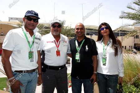 (L to R): Mohammad Azharuddin (IND) Former Indian Cricket Captain, Dr. Vijay Mallya (IND) Force India F1 Team Owner, Quraish Dadabhai, CEO Dadabhai Group and Sangeeta Bijlani (IND) Bollywood Actress. Formula One World Championship, Rd 3, Bahrain Grand Prix, Qualifying Day, Bahrain International Circuit, Bahrain, Saturday 5 April 2008.