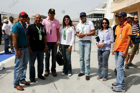 Mohammad Azharuddin (IND) Former Indian Cricket Captain with his wife Sangeeta Bijlani (IND) Bollywood Actress,Quraish Dadabhai, CEO Dadabhai Group and guests. Formula One World Championship, Rd 3, Bahrain Grand Prix, Qualifying Day, Bahrain International Circuit, Bahrain, Saturday 5 April 2008.