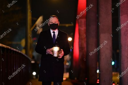 Polish President Andrzej Duda attends a wreath laying ceremony marking 50th anniversary of the December 1970 worker protests in Gdynia, north Poland, 17 December 2020.
