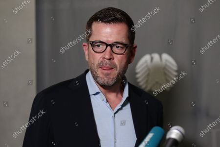 Former German Economics and Technology Minister Karl-Theodor zu Guttenberg speaks to the press after testifying at the German parliamentary committee in Berlin, Germany, 17 December 2020. German Finance Committee is dealing with the scandal related to the market manipulation of service provider Wirecard.