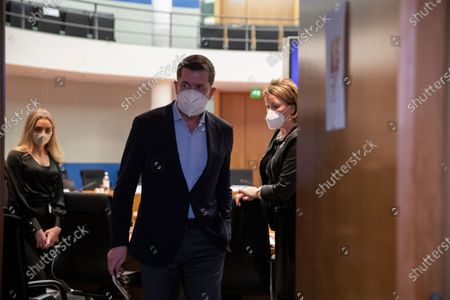 Former German Economics and Technology Minister Karl-Theodor zu Guttenberg (C) leaves after testifying at the German parliamentary committee in Berlin, Germany, 17 December 2020. German Finance Committee is dealing with the scandal related to the market manipulation of service provider Wirecard.