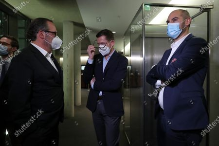 Former German Economics and Technology Minister Karl-Theodor zu Guttenberg (C) after testifying at the German parliamentary committee in Berlin, Germany, 17 December 2020. German Finance Committee is dealing with the scandal related to the market manipulation of service provider Wirecard.