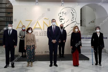 Spain's King Felipe VI (C) poses for a group photo during the opening of an exhibition to mark Spanish late politician and writer Manuel Azana at National Library in Madrid, Spain, 17 December 2020. The exhibition marks 80th anniversary of Azana's his death. (L-R 2 row) Spanish Culture Minister Jose Manuel Rodriguez Uribes, National Library Foundation's President Soledad Puertolas, Spanish First Deputy Prime Minister Carmen Calvo, King Felipe VI, Cultural Action's President Jose Andres Torres Mora, Lower Chamber Speaker,Meritxell Batet and Maria Jose Navarro Azana, great niece of Manuel Azana.