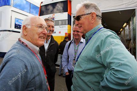 (L to R): Murray Walker (GBR) with Tony Jardine (GBR) and John Watson (GBR). Formula One World Championship, Rd 9, British Grand Prix, Preparations, Silverstone, England, Thursday 3 July 2008.