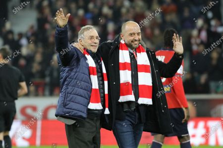 Lille OSC president Gerard Lopez and Michel Seydoux on January 13, 2017 at Pierre Mauroy stadium in Villeneuve-d'Ascq near Lille, France  LOSC football club President Gerard Lopez pushed towards the exit and Merlyn Partners buys the Lille football club  In the next few hours, the LOSC will no longer belong to Gerard Lopez. Too much debt to the Elliott investment fund, the businessman could not resist . Merlyn Partners, another investment fund, will buy back the debt to take control of the club.