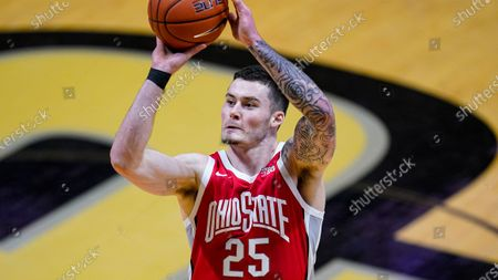 Ohio State forward Kyle Young (25) shoots against Purdue during the first half of an NCAA college basketball game in West Lafayette, Ind