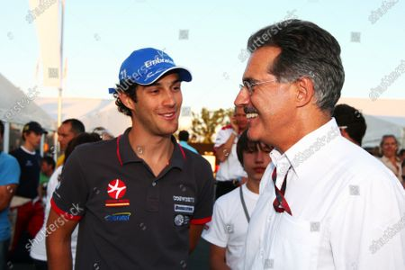 (L to R): Bruno Senna (BRA) Hispania Racing F1 Team (HRT) with Dr Mario Theissen (GER) BMW at the farewell event for Formula BMW Europe. Formula One World Championship, Rd 14, Italian Grand Prix, Qualifying Day, Monza, Italy, Saturday 11 September 2010.