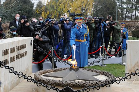"The President of Serbia, Aleksandar Vucic, and the Minister of Foreign Affairs of Russia, Sergey Lavrov, attended today the lighting of the eternal fire and laid wreaths near the monument ""Eternal Fire"" at the Memorial Cemetery to the Liberators of Belgrade. ""Eternal Flame"" arrived in Belgrade in the early morning hours on a special plane of the Ministry of Defense of Russia. Guardsmen of the Serbian Army also took part in the ceremony of lighting the eternal fire."