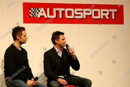 Andy Priaulx (GBR and Paul Radisich (NZL) are interviewed. Autosport International Show, NEC, Birmingham, England, Day Two, Friday 15 January 2010.