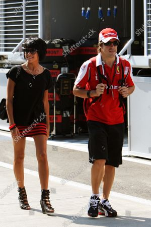 Fernando Alonso (ESP) Ferrari with his wife Raquel del Rosario (ESP). Formula One World Championship, Rd 12, Hungarian Grand Prix, Race Day, Budapest, Hungary, Sunday 1 August 2010.  BEST IMAGE
