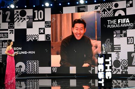 Host Reshmin Chowdhury speaks to South Korea's Son Heung-min after he won the Puskas award at the Best FIFA Football Awards Ceremony in Zurich, Switzerland