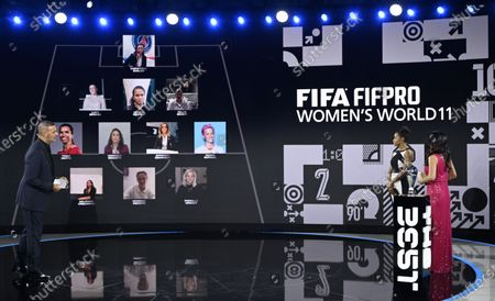 The hosts Reshmin Chowdhury (R) and Ruud Gullit (L) and guest French player Laura Georges present the FIFA FIFPRO Women's World 11 during the the Best FIFA Football Awards virtual TV show broadcast from the FIFA headquarters in Zurich, Switzerland, 17 December 2020.