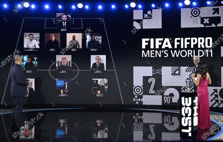 Stock Image of The hosts Reshmin Chowdhury (R) and Ruud Gullit (L) and guest Arsene Wenger present the FIFA FIFPRO Men's World 11 during the the Best FIFA Football Awards virtual TV show broadcast from the FIFA headquarters in Zurich, Switzerland, 17 December 2020.