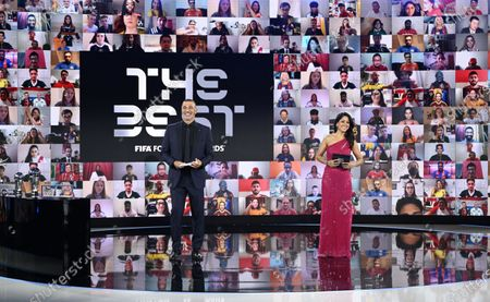 Hosts Reshmin Chowdhury and Ruud Gullit at the start of the Best FIFA Football Awards virtual TV show broadcast from the FIFA headquarters in Zurich, Switzerland, 17 December 2020.