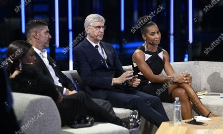 (L_R) Fatma Samoura, Secretary General of FIFA, Pascal Zuberbuehler, Arsene Wenger and Laura Georges during the Best FIFA Football Awards virtual TV show broadcast from the FIFA headquarters in Zurich, Switzerland, 17 December 2020.