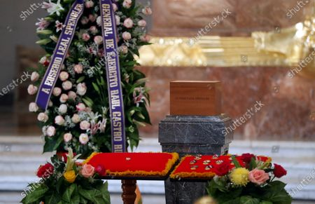 A wreath of the Army General and first secretary of the Communist Party of Cuba (PCC), Raul Castro, together with the ashes of the historian Eusebio Leal exposed to be visited and honored by the citizens, in the Hall of Lost Steps inside the Capitol, in Havana, Cuba, 17 December 2020.Thousands of Cubans went to the Capitol of Havana on 17 December to say their last goodbye to the historian of the city, Eusebio Leal, who died on 31 July at the age of 77, and to whom a public tribute had not been paid at that time due to Coronavirus pandemic.