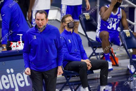 Duke head coach Mike Krzyzewski reacts after a turnover during an NCAA college basketball game against Notre Dame, in South Bend, Ind. Duke won 75-65