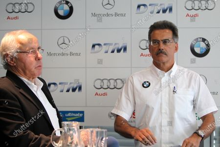 L-R: Hans Werner Aufrecht (GER) Chairman of the ITR and BMW Motorsport director Dr. Mario Theissen (GER) BMW Motorsport director at a press conference confirming BMW's involvement in the DTM as of 2012. DTM, Rd9, Hockenheim, Germany, 15-17 October 2010.