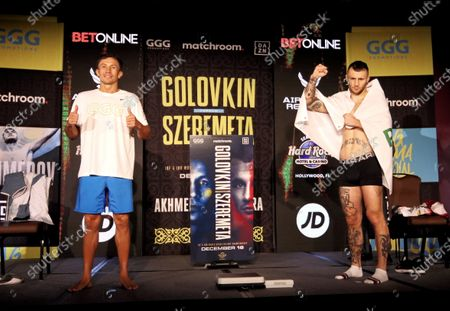 Polish middleweight boxer Kamil Szeremeta (R) and Kazakhstan's Gennady Golovkin (L) pose for photographers during the official weighing meeting in Hollywood, Florida, USA, 17 December 2020. Szeremeta will fight Golovkin in their IBF Middleweight World Championship title bout on 18 December 2020.