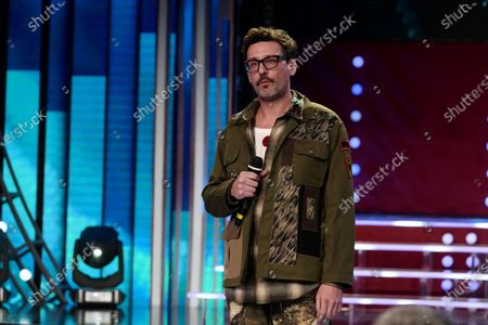 Stock Image of Willie Peyote performs during the final of the final of Sanremo Giovani 2020 (Sanremo Youth 2020) competition at the Casino of Sanremo, in Sanremo, Italy, 17 December 2020. The 10 finalists - according to the Italian RAI broadcasters - will compete to win the six seats available in the New Proposals section of the Sanremo 2021 Festival.