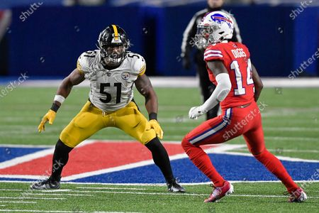 Pittsburgh Steelers linebacker Avery Williamson (51) covers Buffalo Bills wide receiver Stefon Diggs (14) during the second half of an NFL football game in Orchard Park, N.Y