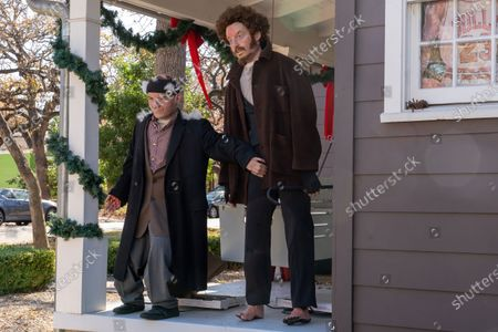 Stock Photo of Kevin Urrutia-O'Reilly and wife Alex Moreland created an impressive display of Christmas decorations in homage to the film, 'Home Alone' in Austin, Texas.  Using a 3D printer,, they plastered faces on mannequins to recreate the villains Harry and Marv, as well as Kevin McCallister, played by actor Macaulay Culkin.