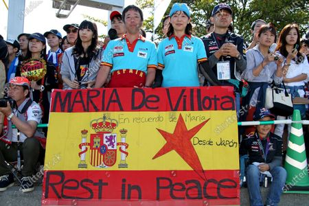 Banner in memory of Maria De Villota (ESP). Formula One World Championship, Rd15, Japanese Grand Prix, Race Day, Suzuka, Japan, Sunday 13 October 2013.