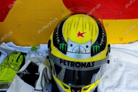 A star in tribute to Maria de Villota (ESP) on the helmet of Nico Rosberg (GER) Mercedes AMG F1. Formula One World Championship, Rd15, Japanese Grand Prix, Race Day, Suzuka, Japan, Sunday 13 October 2013.