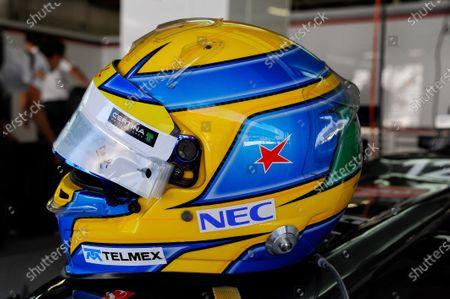 A star in tribute to Maria de Villota (ESP) on the helmet of Esteban Gutierrez (MEX) Sauber. Formula One World Championship, Rd15, Japanese Grand Prix, Race Day, Suzuka, Japan, Sunday 13 October 2013.