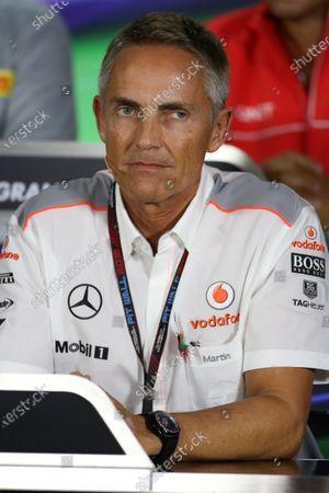 Martin Whitmarsh (GBR) McLaren Chief Executive Officer in the Press Conference. Formula One World Championship, Rd17, Abu Dhabi Grand Prix, Practice, Yas Marina Circuit, Abu Dhabi, UAE, Friday 1 November 2013.