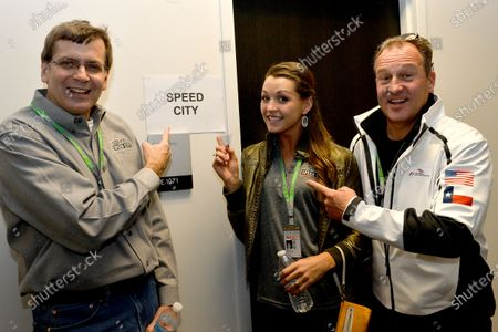 (L to R): Jon Massengale (USA), Natasha Masterson (USA) and Jonathan Green (GBR). Formula One World Championship, Rd18, United States Grand Prix, Practice, Austin, Texas, USA, Friday 15 November 2013.