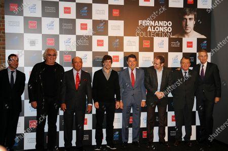(L to R): Flavio Briatore (ITA), Emilio Botin (ESP) Chairman of Santander, Fernando Alonso (ESP) Ferrari, Ignacio Gonzalez (ESP) President of the Community of Madrid, Stefano Domenicali (ITA) Ferrari General Director, Gian Carlo Minardi (ITA) and Martin Whitmarsh (GBR) McLaren Chief Executive Officer. Fernando Alonso Museum Opening, Canal de Isabel II, Madrid, Spain, 2 December 2013.