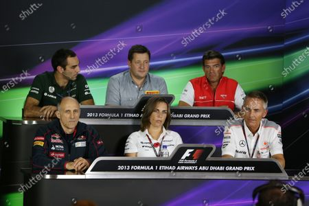 (L to R): Cyril Abiteboul (FRA) Caterham CEO Paul Hembery (GBR) Pirelli Motorsport Director, Graeme Lowdon (GBR) Marussia F1 President and Sporting Director in the Press Conference, Franz Tost (AUT) Scuderia Toro Rosso Team Principal, Claire Williams (GBR) Williams Deputy Team Principal and Martin Whitmarsh (GBR) McLaren Chief Executive Officer in the Press Conference. Formula One World Championship, Rd17, Abu Dhabi Grand Prix, Practice, Yas Marina Circuit, Abu Dhabi, UAE, Friday 1 November 2013.
