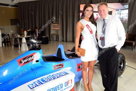 Miss Universe Australia Olivia Wells (AUS) and David Mann (AUS) Radio 3AW host. 2014 Formula 1 Rolex Australian Grand Prix Media Launch, Carousel, Albert Park, Melbourne, Australia, 3 February 2014.