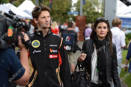 Romain Grosjean (FRA) Lotus F1 and wife Marion Jolles (FRA). Formula One World Championship, Rd1, Australian Grand Prix, Race, Albert Park, Melbourne, Australia, Sunday 16 March 2014.