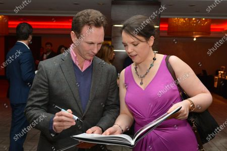 (L to R): Christian Horner (GBR) Red Bull Racing Team Principal and Caroline Reid (GBR) Formula Money. Zoom Auction in aid of Great Ormond Street Hospital, Intercontinental Park Lane Hotel, London, Friday 7 February 2014.