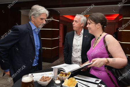 (L to R): Damon Hill (GBR); Keith Sutton (GBR) CEO Sutton Images and Caroline Reid (GBR) Formula Money. Zoom Auction in aid of Great Ormond Street Hospital, Intercontinental Park Lane Hotel, London, Friday 7 February 2014.