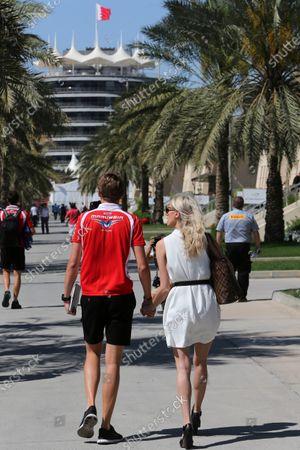 Max Chilton (GBR) Marussia F1 Team with his girlfriend Chloe Roberts (GBR). Formula One World Championship, Rd3, Bahrain Grand Prix, Race, Bahrain International Circuit, Sakhir, Bahrain, Sunday 6 April 2014.