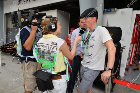 Benedict Cumberbatch (GBR) actor talks with Jennie Gow (GBR) BBC TV. Formula One World Championship, Rd2, Malaysian Grand Prix, Qualifying, Sepang, Malaysia, Saturday 29 March 2014.