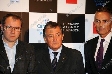 (L to R): Stefano Domenicali (ITA) Ferrari General Director, Gian Carlo Minardi (ITA) and Martin Whitmarsh (GBR) McLaren Chief Executive Officer. Fernando Alonso Museum Opening, Canal de Isabel II, Madrid, Spain, 2 December 2013.