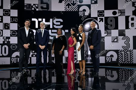 From left: Pascal Zuberbuehler, Arsene Wenger, Fatma Samoura, Secretary General of FIFA, Reshmin Chowdhury, Laura Georges and Ruud Gullit pose for a photo together after the the Best FIFA Football Awards Ceremony in Zurich, Switzerland