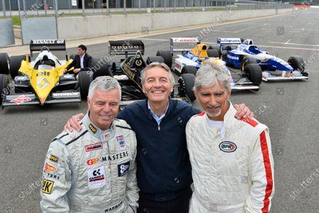 (L to R): Derek Warwick (GBR); Tony Jardine (GBR) and Damon Hill (GBR). British GP winning drivers join Romain Grosjean at Silverstone, Silverstone, England, Thursday 15 May 2014.