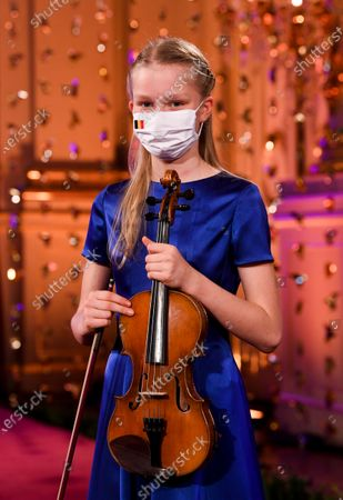 Princess Eleonore of the Belgian Royal Family poses ahead to recording Christmas greetings at the Royal Palace during a Christmas concert rehearsal at Throne Room, decorated with an origami installation by Charles Kaisin, in Brussels, Belgium, 16 December 2020 (issued 18 December 2020).