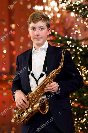 Prince Emmanuel of Belgium poses before playing saxophone during the recording of a Christmas concert at the Royal Palace in Brussels, Belgium, 16 December 2020 (issued on 18 December 2020). The Christmas concert will be broadcasted on Belgian TV on 20 December 2020.