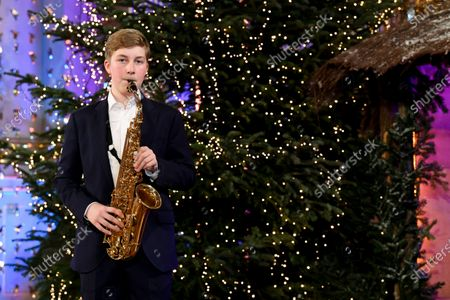 Prince Emmanuel of Belgium plays saxophone during the recording of a Christmas concert at the Royal Palace in Brussels, Belgium, 16 December 2020 (issued on 18 December 2020). The Christmas concert will be broadcasted on Belgian TV on 20 December 2020.