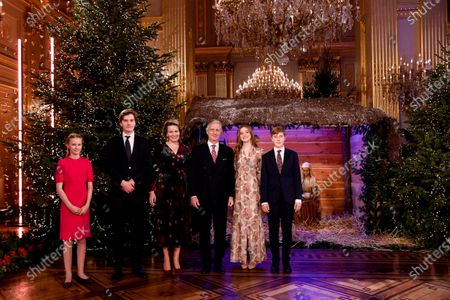 Belgian Royals family, (L-R) Princess Eleonore,  Prince Gabriel, Queen Mathilde, King Philippe,  Princess Elisabeth and Prince Emmanuel of Belgium pose ahead of the recording of a Christmas concert at the Royal Palace in Brussels, Belgium, 16 December 2020 (issued on 18 December 2020). The Christmas concert will be broadcasted on Belgian TV on 20 December 2020.