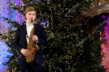 Prince Emmanuel. Belgian Royals celebrate Christmas at the Royal Palace with a Christmas concert rehearsal by the Scala choir, Throne Room decorated with an origami installation by Charles Kaisin, recording of Christmas greetings by members of the Royal Family and a traditional Christmas photo