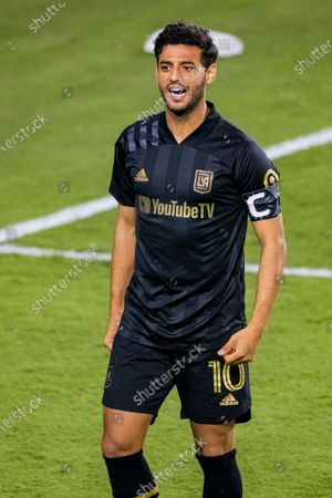 Carlos Vela of Los Angeles FC (USA) celebrates after scoring during their CONCACAF Champions League Semi Finals match against Club America (MEX) at the Orlando's Exploria Stadium