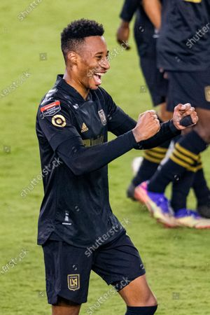 Mark-Anthony Kaye of Los Angeles FC (USA) celebrates before over Club America (MEX) during their CONCACAF Champions League Semi Finals match at the Orlando's Exploria Stadium