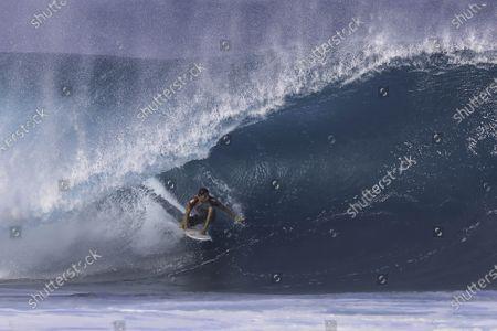 Stock Picture of Leonardo Fioravanti - Surfing : WSL Pipe Masters Round of 32 at Pipeline in Haleiwa,  Hawai, U.S.A.